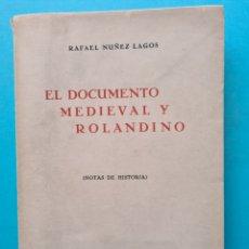 Libros: EL DOCUMENTO MEDIEVAL Y ROLANDINO (NOTAS DE HISTORIA) - RAFAEL NUÑEZ LAGOS - 1951 - ILUSTRADO - VER. Lote 287641738