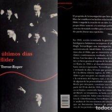 Libros: HUGH TREVOR-ROPER: LOS ÚLTIMOS DÍAS DE HITLER. Lote 213545440