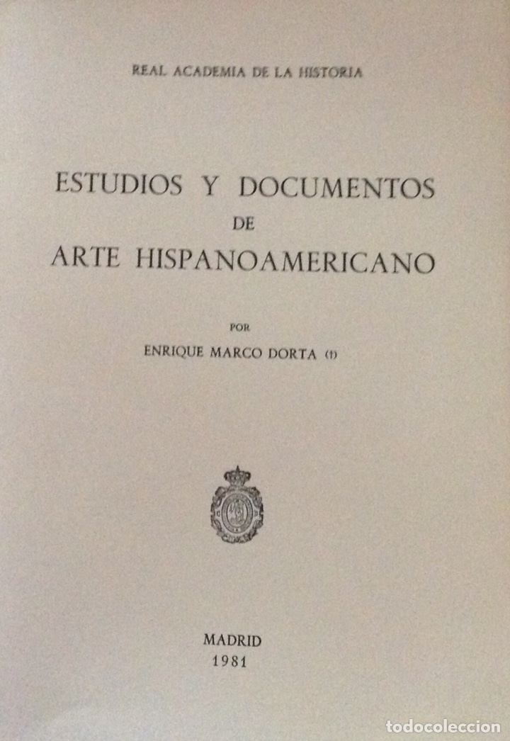 ESTUDIOS Y DOCUMENTOS DE ARTE HISPANOAMERICANO. RA HISTORIA. 1981. NUEVO IMPECABLE (Libros Nuevos - Historia - Historia por países)