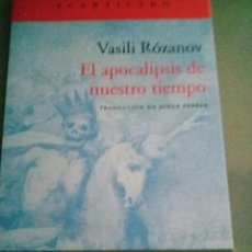 Libros: EL APOCALIPSIS DE NUESTRO TIEMPO. V. ROZANOV. Lote 277537183