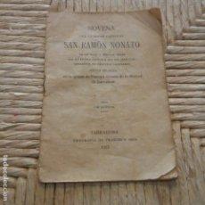 Libros: TARRAGONA - AÑO 1913 - NOVENA SAN RAMON NONATO - TIPOGRAFIA FRANCISCO ARIS - . Lote 95339035