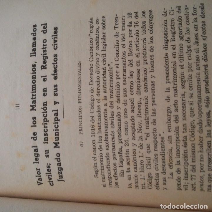 Libros: TARRAGONA - 1944 - FRANCISCO VIVES RECASENS PBRO. - LEGISLACION CANONICO-CIVIL SOBRE AS. MATRIMONIAL - Foto 5 - 95392779