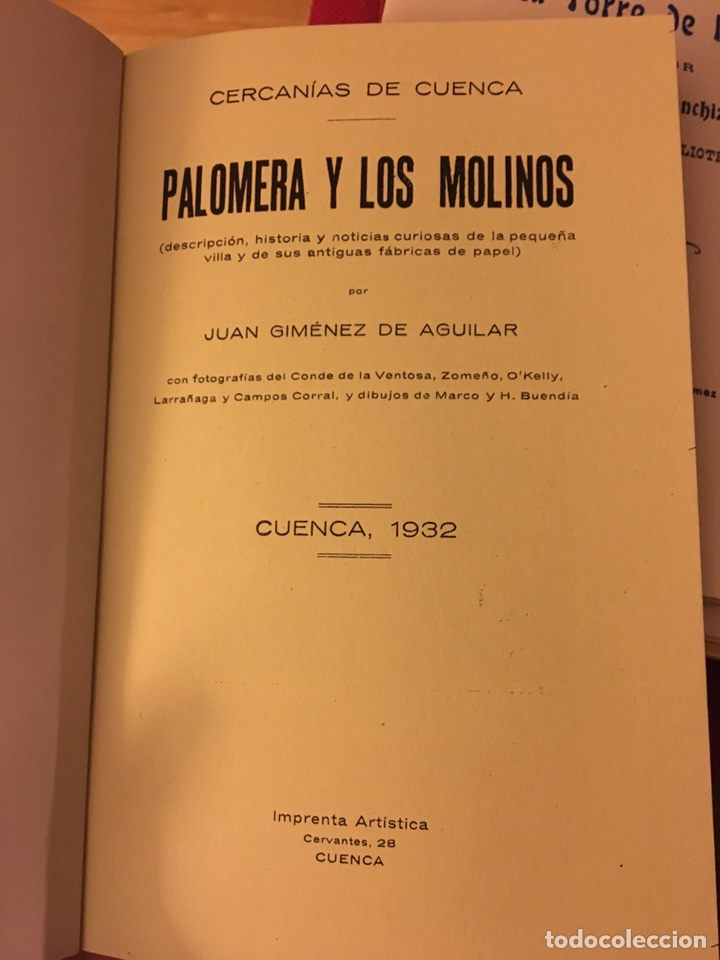 Libros: Palomera y los molinos (Cuenca)1932, Juan Jiménez Aguilar - Foto 2 - 157761084