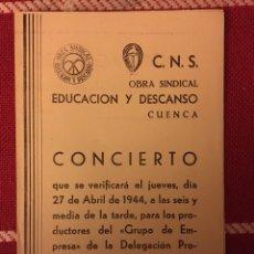 Libros: PROGRAMA MÚSICA CUENCA 1944. Lote 145190273