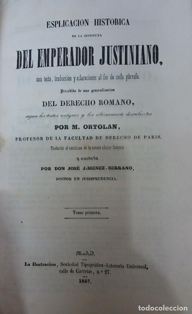 29083 - ESPLICACION HISTORICA DE LA INSTITUTA DEL EMPERADOR ROMANO - POR M. ORTALAN - AÑO 1947 (Libros Nuevos - Historia - Otros)