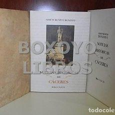 Libros: BOXOYO, SIMÓN-BENITO. NOTICIAS HISTÓRICAS DE CÁCERES Y MONUMENTOS DE LA ANTIGÜEDAD QUE CONSERVA. FAC. Lote 254314210