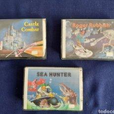 Libros: LOTE 3 JUEGOS COMPUTADORA DYNADATA MSX, SEA HUNTER, CASTLE COMBAT Y ROGER RUBBISH. Lote 296031793
