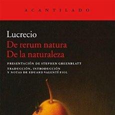 Libri: DE RERUM NATURA. DE LA NATURALEZA LUCRECIO GASTOS DE ENVIO GRATIS. Lote 191863161