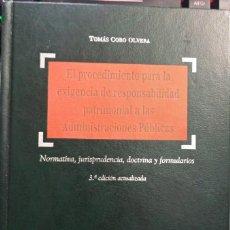 Libros: EL PROCEDIMIENTO PARA LA EXIGENCIA DE LA RESPONSABILIDAD PATRIMONIAL A LAS ADMINISTRACIONES PÚBLICAS. Lote 262956855