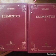 Livres: EUCLIDES. ELEMENTOS (EDITORIAL GREDOS) OBRA COMPLETA. Lote 272046878