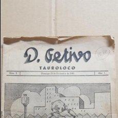 Libros: D. FESTIVO. TAUROLOCO.- NUM. 2. 23 DICIEMBRE 1945. REDACCION: LA QUINTA DE GOYA.. Lote 141243718