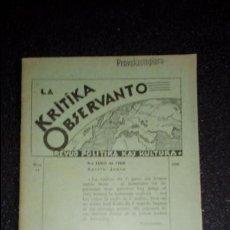 Libros: ESPERANTO. LENGUA UNIVERSAL. LITERATURA ESPERANTISTA.. Lote 127275347