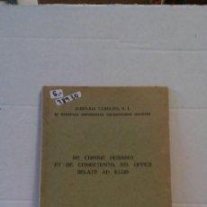 Libros: 28930 - DE CRIMINE PESSIMO ET DE COMPENTA STI. OFFICI RELATE AD ILLUD - AURELIS YANGUAS - 1947. Lote 188452666