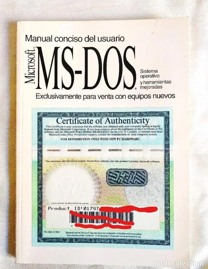 1994 - MANUAL MS-DOS OFICIAL - CON NÚMERO DE LICENCIA ORIGINAL (Libros Nuevos - Ocio - Informática - Sistemas Operativas)