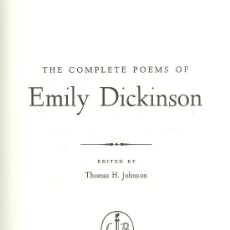 Libros: EMILY DICKINSON. THE COMPLETE POEMS. BOSTON, 1960. Lote 25252947
