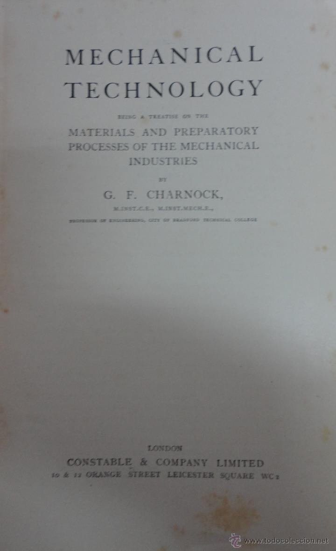MECHANICAL TECHNOLOGY, G.F. CHARNOCK. (Libros Nuevos - Idiomas - Inglés)