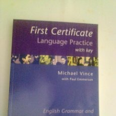 Libros: FIRST CERTIFICATE LANGUAGE PRACTICE WITH KEY (MICHAEL VINCE).. Lote 118453907