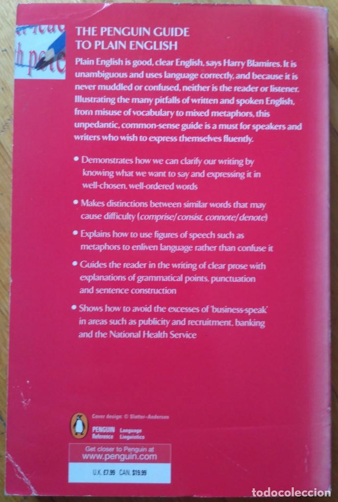 Libros: THE PENGUIN GUIDE TO PLAIN ENGLISH. HARRY BLAMIRES. - Foto 2 - 205522861