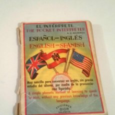 Livres: EL INTÉRPRETE DE BOLSILLO. ESPAÑOL-INGLÉS, INGLÉS-ESPAÑOL. Lote 224144058