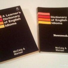 Libros: DICTIONARY OF ENFLISH IDIOMS. 2 TOMOS. MCCAIG&MANSER. Lote 224145307