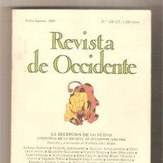 Livres: LA RECEPCIÓN DE LO NUEVO. ANTOLOGÍA DE LA REVISTA DE OCCIDENTE (1923 - 1936). . Lote 35663951