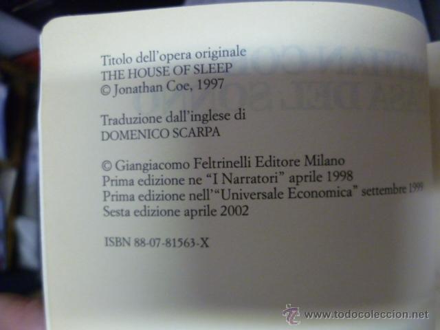 Libros: La Casa del Sonno - Jonathan Coe - 2002 (en italiano) - Foto 3 - 39336274