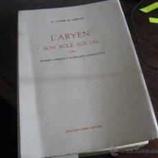 Livres: L'ARYEN, SON ROLE SOCIAL, VACHER DE LAPOUGE G. VRC6. Lote 40287994