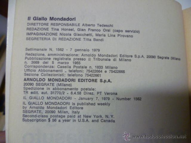 Libros: Il Giallo Mondadori - Un Penny Vermiglio per Masao Masuto - nº 1562 - año 1979 (en italiano) - Foto 2 - 44827138