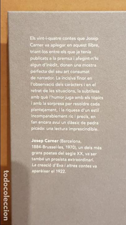 Libros: LA CREACIÓ D'EVA I ALTRES CONTES / JOSEP CARNER / NARRATIVA CATALANA / 14 - Foto 2 - 140427146