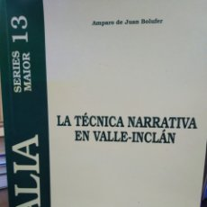 Libros: LA TÉCNICA NARRATIVA EN VALLE-INCLAN,AMPARO DE JUAN BOLUFER,LALLA,2000,N°13,SANTIAGO DE COMPOSTELA,G. Lote 218790298