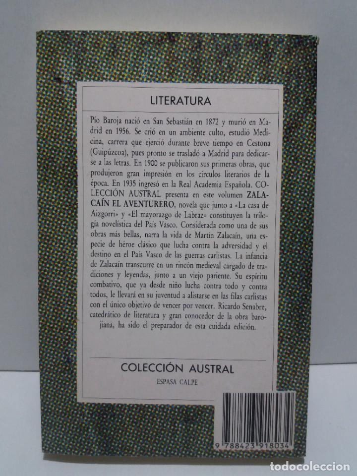 Libros: EMBLEMATICO ZALACAIN EL AVENTURERO PIO BAROJA - Foto 4 - 222081647