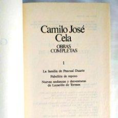 Libros: CELA: LA FAMILIA DE PASCUAL DUARTE Y OTRAS - TOMO 1 OBRAS COMPLETAS. Lote 240270390