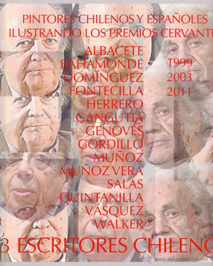Libros: 3 CERVANTES CHILENOS. JORGE EDWARS, GONZALO ROJAS Y NICANOR PARRA. HOMENAJE PICTÓRICO 14 LÁMINAS - Foto 2 - 51697942