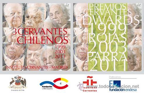 Libros: 3 CERVANTES CHILENOS. JORGE EDWARS, GONZALO ROJAS Y NICANOR PARRA. HOMENAJE PICTÓRICO 14 LÁMINAS - Foto 4 - 51697942