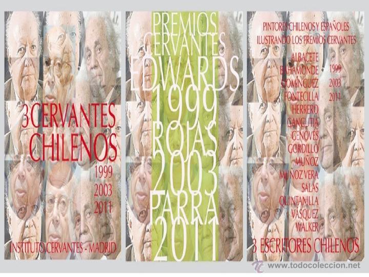 Libros: 3 CERVANTES CHILENOS. JORGE EDWARS, GONZALO ROJAS Y NICANOR PARRA. HOMENAJE PICTÓRICO 14 LÁMINAS - Foto 5 - 51697942