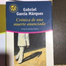 Libros: CRÓNICA DE UNA MUERTE ANUNCIADA. GABRIEL GARCÍA MÁRQUEZ. Lote 182703931