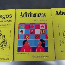 Libros: JUEGOS PARA NIÑOS Y ADIVINANZAS-PEREA EDICIONES AÑO 1987-MIDEN 17 X 12 CTM. Lote 218232228