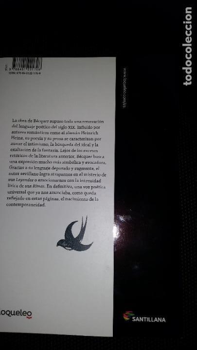 Libros: LEYENDAS Y RIMAS - GUSTAVO ADOLFO BECQUER ED SANTILLANA PARA LA ESO - Foto 2 - 210933404