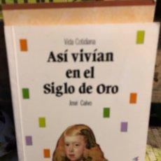 Libri: ASÍ VIVÍAN EN EL SIGLO DE ORO VIDA COTIDIANA JOSÉ CALVO ANAYA. Lote 273350588