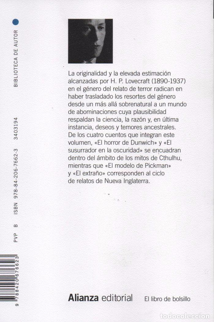 Libros: EL HORROR DE DUNWICH de H.P. LOVECRAFT - ALIANZA EDITORIAL, 2015, BOLSILLO (NUEVO) - Foto 2 - 87448272
