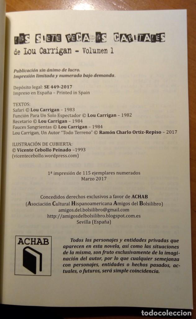 Libros: LOS SIETE PECADOS CAPITALES - VOL. 1 - LOU CARRIGAN - ACHAB - Foto 4 - 140589960