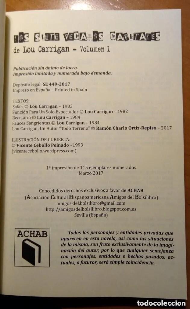 Libros: LOS SIETE PECADOS CAPITALES - LOU CARRIGAN - 2 VOLUMENES - COMPLETO - ACHAB - 1ª EDICIÓN - QUEDAN 2 - Foto 5 - 222125990