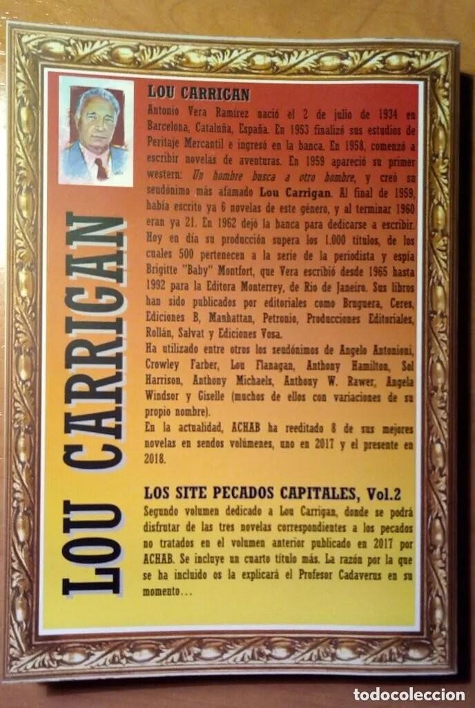 Libros: LOS SIETE PECADOS CAPITALES - LOU CARRIGAN - 2 VOLUMENES - COMPLETO - ACHAB - 1ª EDICIÓN - QUEDAN 2 - Foto 8 - 222125990
