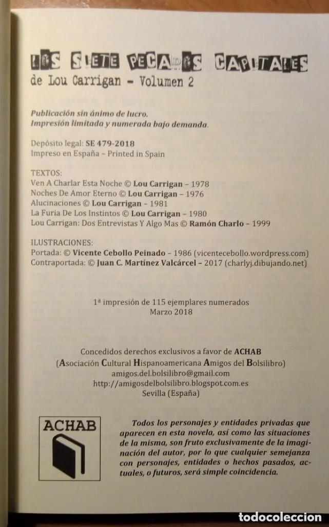 Libros: LOS SIETE PECADOS CAPITALES - LOU CARRIGAN - 2 VOLUMENES - COMPLETO - ACHAB - 1ª EDICIÓN - QUEDAN 2 - Foto 10 - 222125990