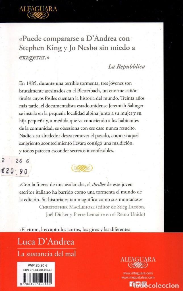 Libros: LA SUSTANCIA DEL MAL de LUCA DANDREA - ALFAGUARA, 2017 (NUEVO) - Foto 2 - 222468605