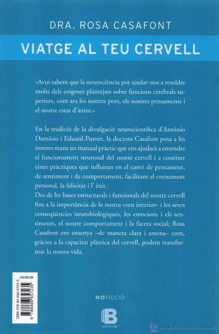 Libros: VIATGE AL TEU CERVELL de ROSA CASAFONT - EDICIONES B, 2015 (NUEVO) - Foto 2 - 51670875