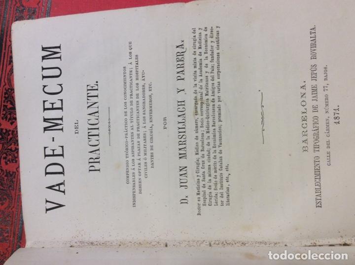 Libros: Vademecum del practicante. 1871. - Foto 3 - 146920174