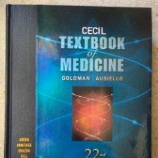 Libros: CECIL TEXTBOOK MEDICINE (2541 PAG) + CD - GOLDMAN-AUSIELLO /AREND/ARMITAGE/DRAZEN/GILL/GRIGGS, ETC. Lote 232646580