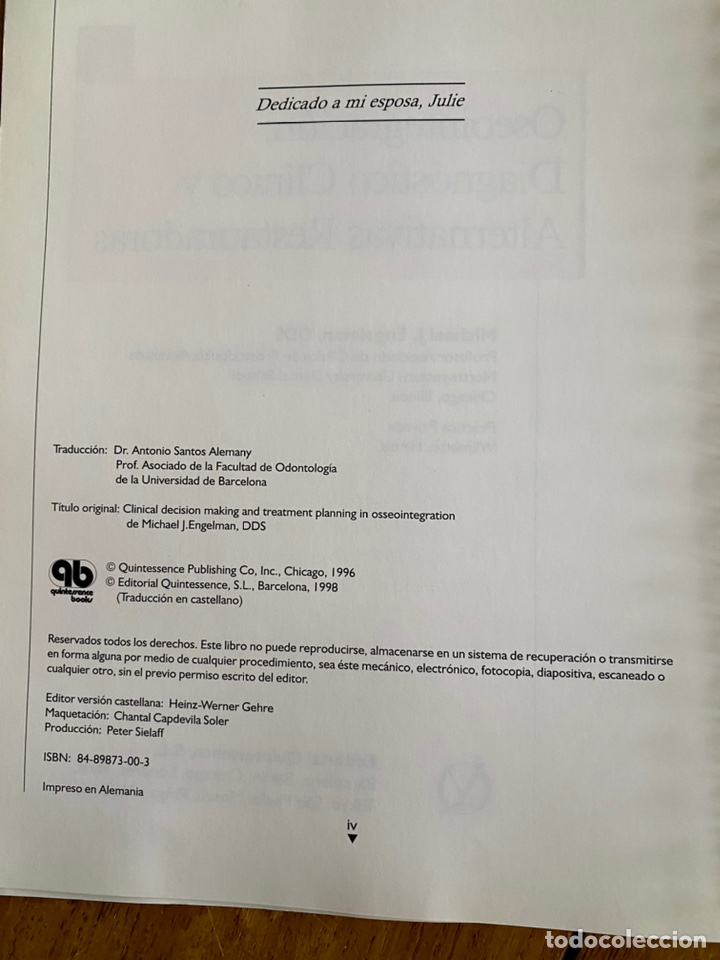 Libros: Óseointegración - Diagnóstico clínico y alternativas restauradoras/1998 - Foto 4 - 238736835