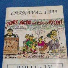 Libros: LIBRITO DE CARNAVAL DE 1993. Lote 94015134